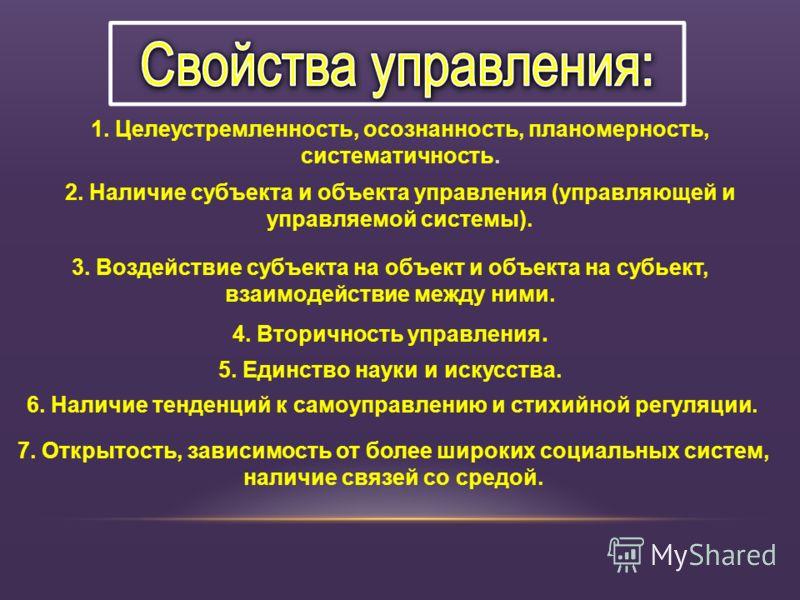 1. Целеустремленность, осознанность, планомерность, систематичность. 2. Наличие субъекта и объекта управления (управляющей и управляемой системы). 3. Воздействие субъекта на объект и объекта на субьект, взаимодействие между ними. 4. Вторичность управ