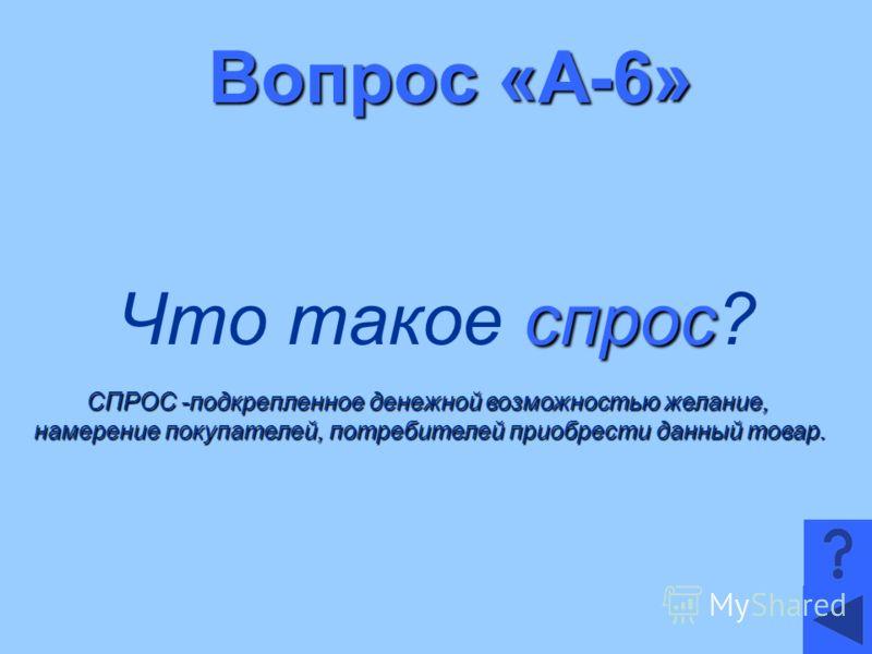 Вопрос «А-6» спрос Что такое спрос? СПРОС -подкрепленное денежной возможностью желание, намерение покупателей, потребителей приобрести данный товар.