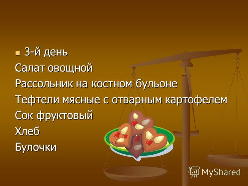 3-й день 3-й день Салат овощной Рассольник на костном бульоне Тефтели мясные с отварным картофелем Сок фруктовый ХлебБулочки