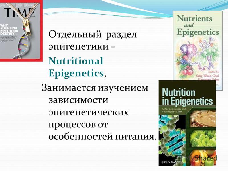 Отдельный раздел эпигенетики – Nutritional Epigenetics, Занимается изучением зависимости эпигенетических процессов от особенностей питания.