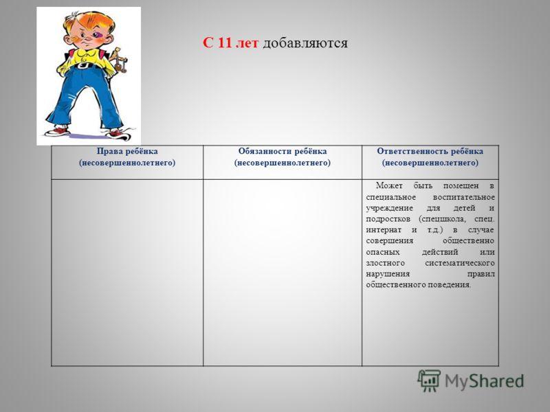 С 11 лет добавляются Права ребёнка (несовершеннолетнего) Обязанности ребёнка (несовершеннолетнего) Ответственность ребёнка (несовершеннолетнего) Может быть помещен в специальное воспитательное учреждение для детей и подростков (спецшкола, спец. интер