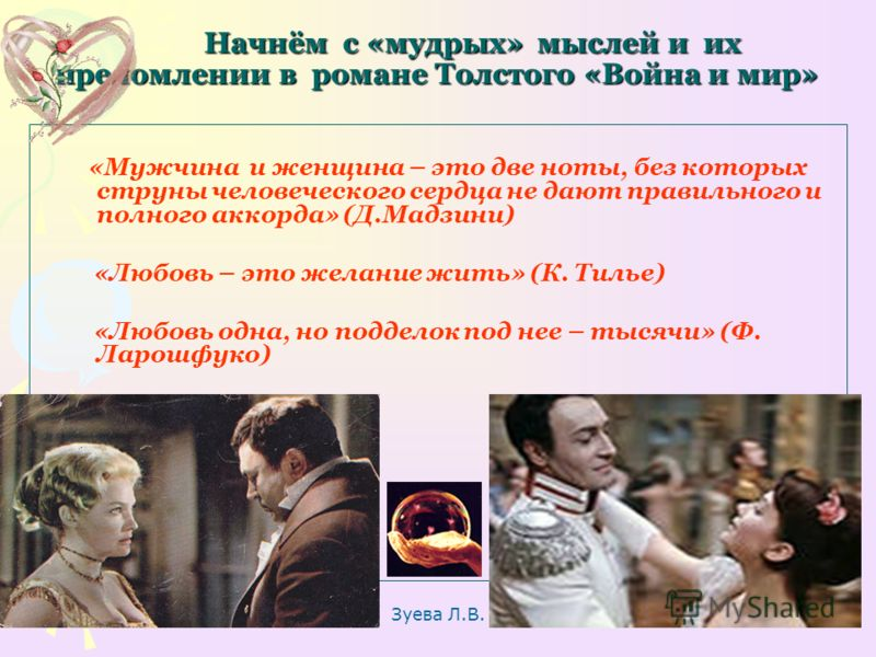 Зуева Л.В. 6 Начнём с «мудрых» мыслей и их преломлении в романе Толстого «Война и мир» Начнём с «мудрых» мыслей и их преломлении в романе Толстого «Война и мир» «Мужчина и женщина – это две ноты, без которых струны человеческого сердца не дают правил