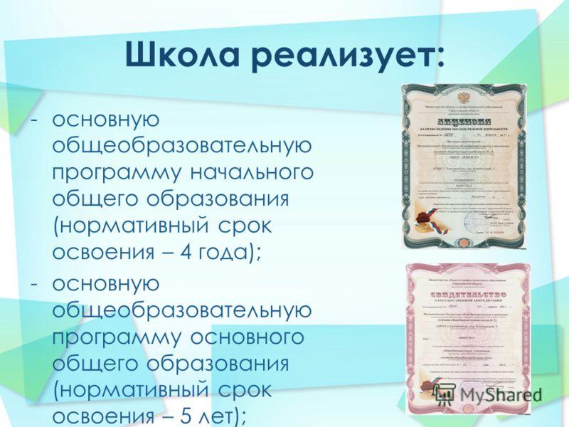 -основную общеобразовательную программу начального общего образования (нормативный срок освоения – 4 года); -основную общеобразовательную программу основного общего образования (нормативный срок освоения – 5 лет);