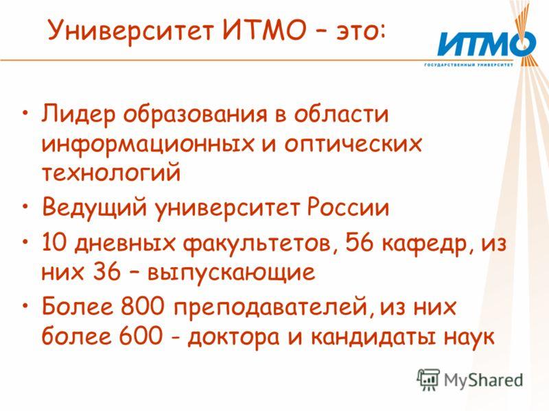 Университет ИТМО – это: Лидер образования в области информационных и оптических технологий Ведущий университет России 10 дневных факультетов, 56 кафедр, из них 36 – выпускающие Более 800 преподавателей, из них более 600 - доктора и кандидаты наук