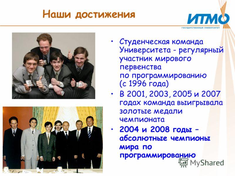 Наши достижения Студенческая команда Университета - регулярный участник мирового первенства по программированию (с 1996 года) В 2001, 2003, 2005 и 2007 годах команда выигрывала золотые медали чемпионата 2004 и 2008 годы – абсолютные чемпионы мира по