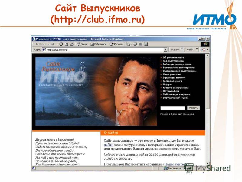Сайт Выпускников (http://club.ifmo.ru)