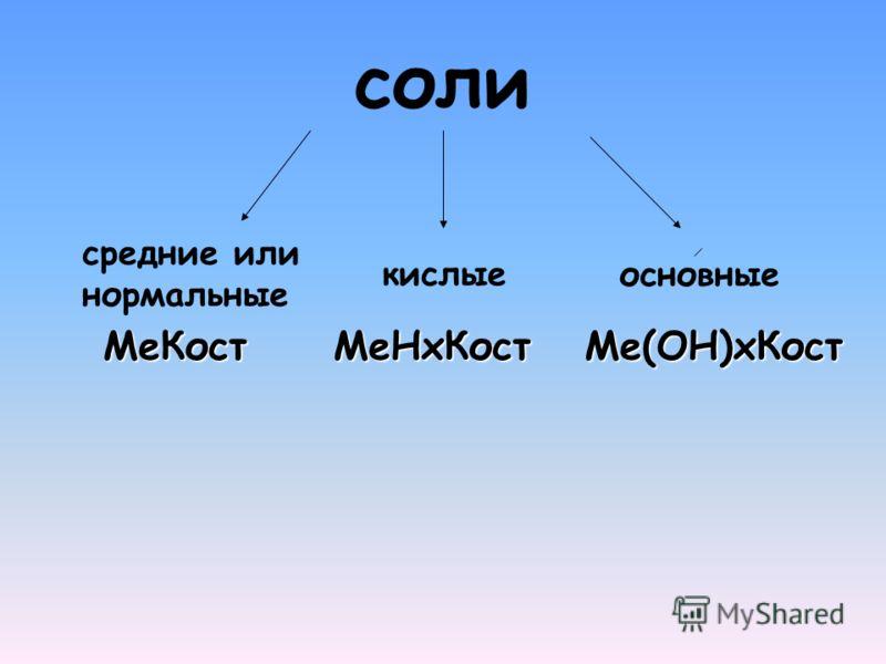соли средние или нормальные кислые основные МеНхКостМе(ОН)хКостМеКост
