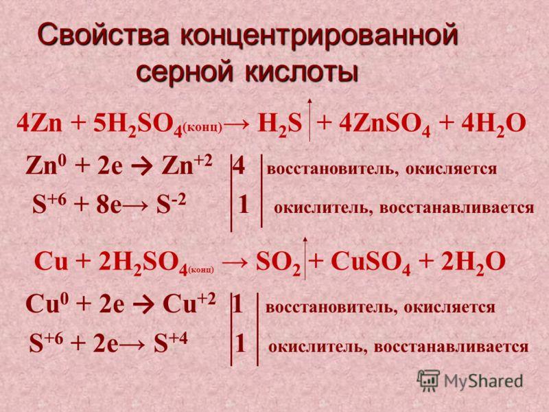 Свойства концентрированной серной кислоты Cu + 2H 2 SO 4 (конц) SO 2 + CuSO 4 + 2H 2 О Cu 0 + 2е Cu +2 1 восстановитель, окисляется S +6 + 2е S +4 1 окислитель, восстанавливается 4Zn + 5H 2 SO 4 (конц) H 2 S + 4ZnSO 4 + 4H 2 О Zn 0 + 2е Zn +2 4 восст