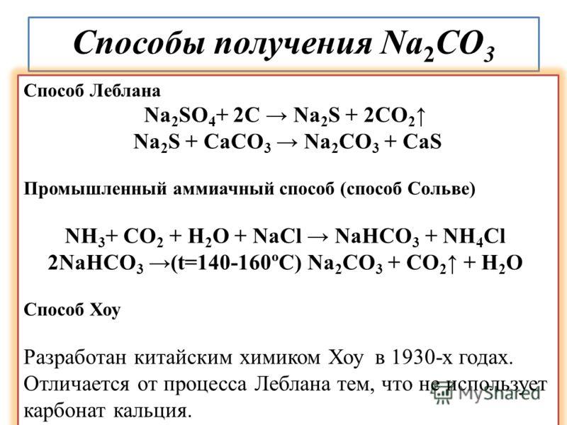 Способы получения Na 2 CO 3 Способ Леблана Na 2 SO 4 + 2C Na 2 S + 2CO 2 Na 2 S + СаСО 3 Na 2 CO 3 + CaS Промышленный аммиачный способ (способ Сольве) NH 3 + CO 2 + H 2 O + NaCl NaHCO 3 + NH 4 Cl 2NaHCO 3 (t=140-160ºС) Na 2 CO 3 + CO 2 + H 2 O Способ
