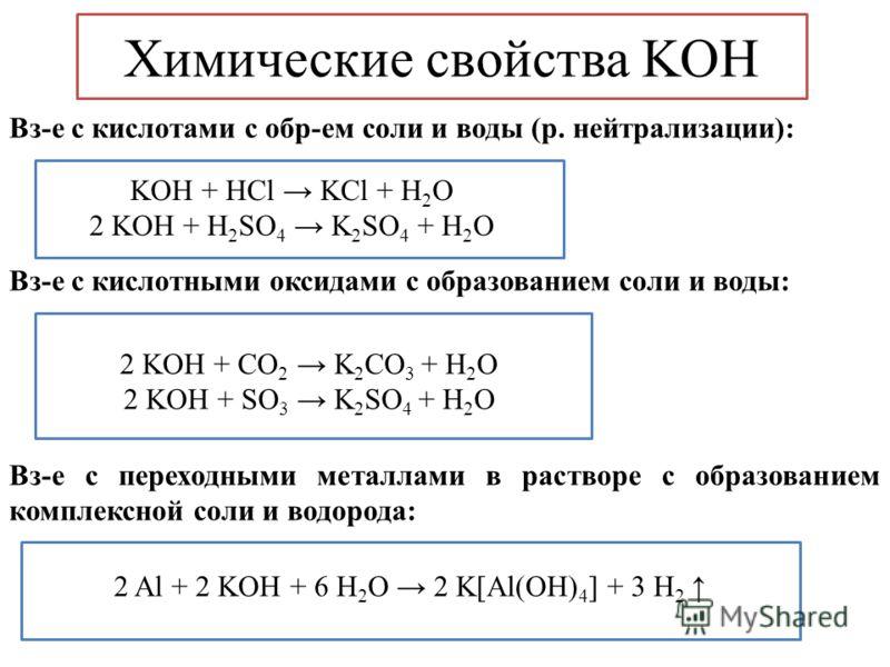 Химические свойства KOH Вз-е с кислотами с обр-ем соли и воды (р. нейтрализации): Вз-е с кислотными оксидами с образованием соли и воды: Вз-е с переходными металлами в растворе с образованием комплексной соли и водорода: KOH + HCl KCl + H 2 O 2 KOH +