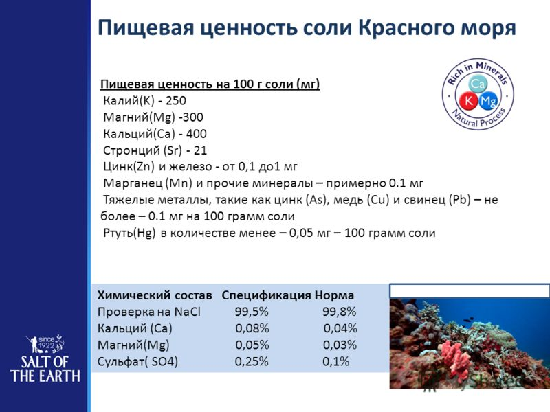 Пищевая ценность соли Красного моря Пищевая ценность на 100 г соли (мг) Калий(K) - 250 Магний(Mg) -300 Кальций(Ca) - 400 Стронций (Sr) - 21 Цинк(Zn) и железо - от 0,1 до1 мг Марганец (Mn) и прочие минералы – примерно 0.1 мг Тяжелые металлы, такие как