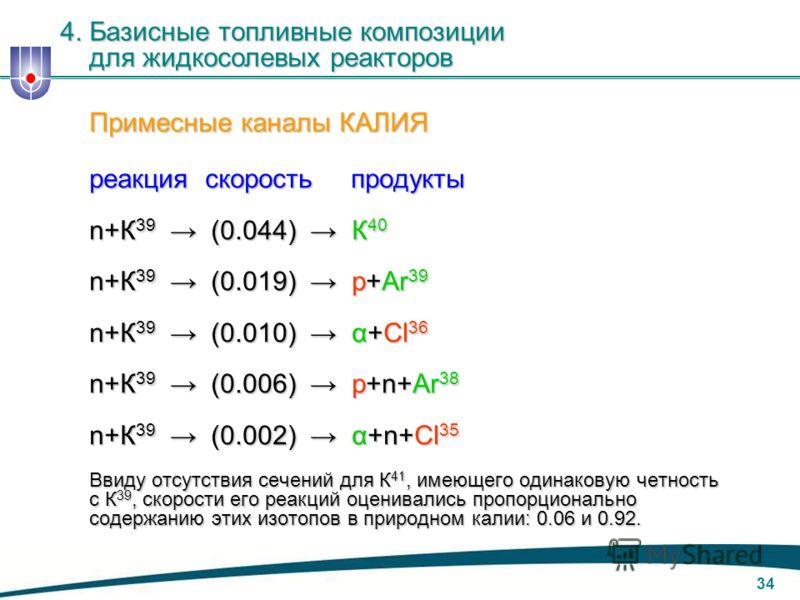 33 Примесные каналы НАТРИЯ реакция скорость продукты реакция скорость продукты n+Na 23 (0.0036) Na 24 (β - /15ч)Mg 24 n+Na 23 (0.0036) Na 24 (β - /15ч)Mg 24 n+Na 23 (0.0012) α+F 20 (β - /12c)Ne 20 n+Na 23 (0.0012) α+F 20 (β - /12c)Ne 20 n+Na 23 (0.00