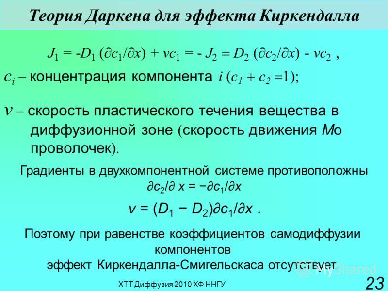 ХТТ Диффузия 2010 ХФ ННГУ 23 J 1 = -D 1 ( c 1 / x) + vc 1 = - J 2 D 2 ( c 2 / x) - vc 2, c i – концентрация компонента i (c 1 c 2 ); v – скорость пластического течения вещества в диффузионной зоне ( скорость движения Мо проволочек ). Градиенты в двух
