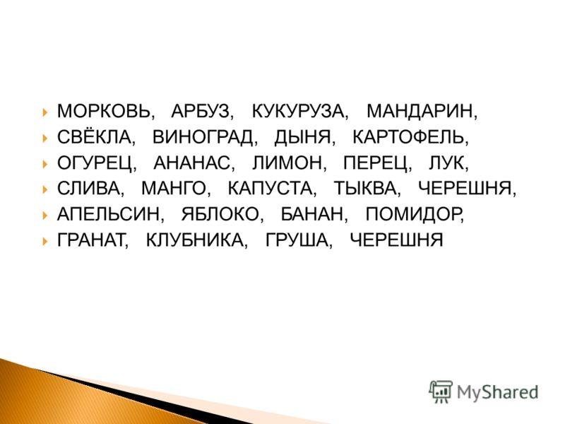 МОРКОВЬ, АРБУЗ, КУКУРУЗА, МАНДАРИН, СВЁКЛА, ВИНОГРАД, ДЫНЯ, КАРТОФЕЛЬ, ОГУРЕЦ, АНАНАС, ЛИМОН, ПЕРЕЦ, ЛУК, СЛИВА, МАНГО, КАПУСТА, ТЫКВА, ЧЕРЕШНЯ, АПЕЛЬСИН, ЯБЛОКО, БАНАН, ПОМИДОР, ГРАНАТ, КЛУБНИКА, ГРУША, ЧЕРЕШНЯ