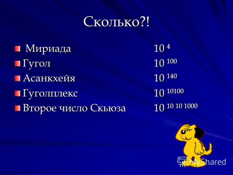 Сколько?! Мириада 10 4 Мириада 10 4 Гугол 10 100 Асанкхейя10 140 Гуголплекс10 10100 Второе число Скьюза 10 10 10 1000