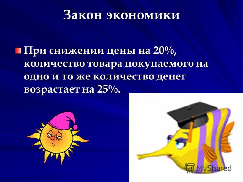 Закон экономики При снижении цены на 20%, количество товара покупаемого на одно и то же количество денег возрастает на 25%.