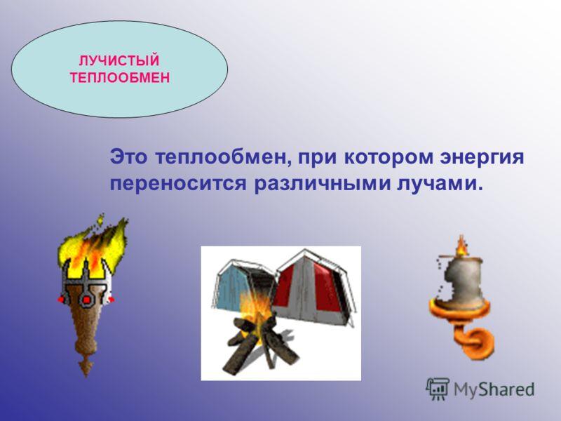 ЛУЧИСТЫЙ ТЕПЛООБМЕН Это теплообмен, при котором энергия переносится различными лучами.