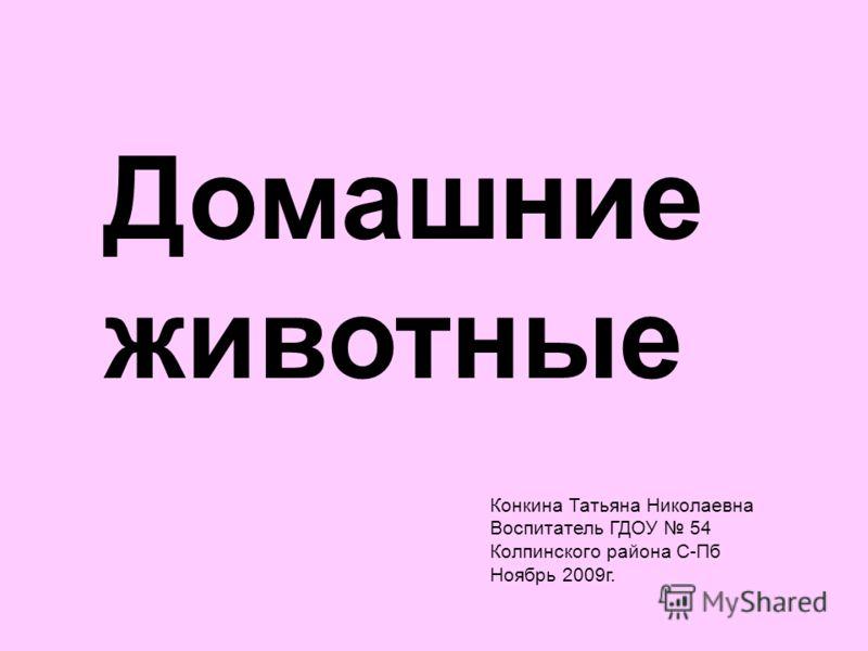 Домашние животные Конкина Татьяна Николаевна Воспитатель ГДОУ 54 Колпинского района С-Пб Ноябрь 2009г.