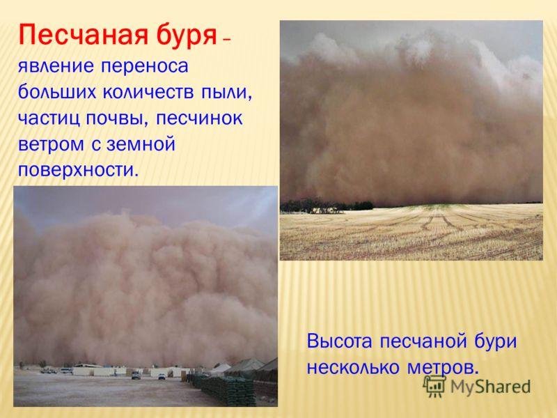 Песчаная буря – явление переноса больших количеств пыли, частиц почвы, песчинок ветром с земной поверхности. Высота песчаной бури несколько метров.