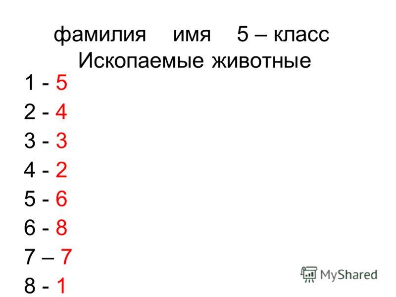 фамилия имя 5 – класс Ископаемые животные 1 - 5 2 - 4 3 - 3 4 - 2 5 - 6 6 - 8 7 – 7 8 - 1