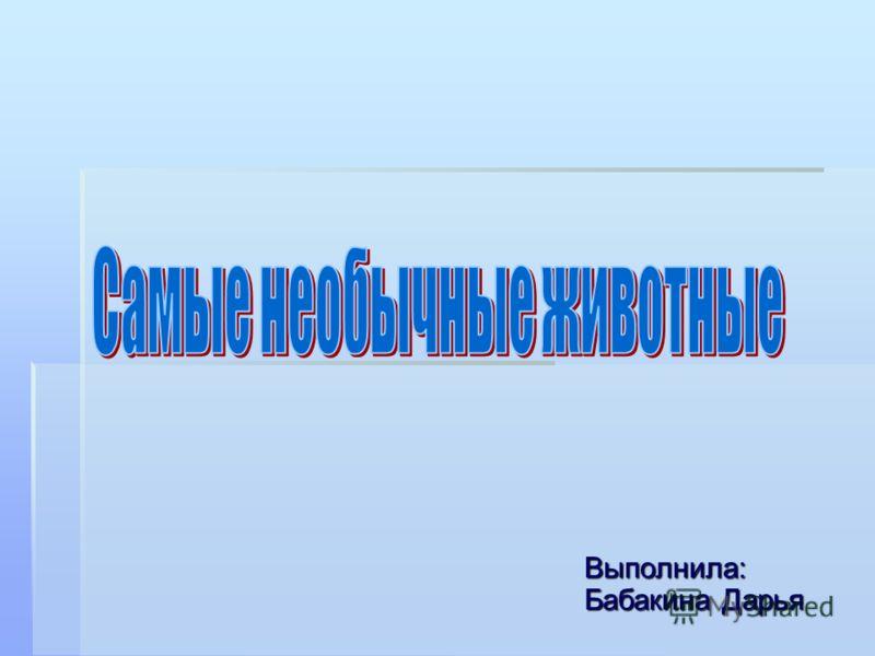 Выполнила: Бабакина Дарья