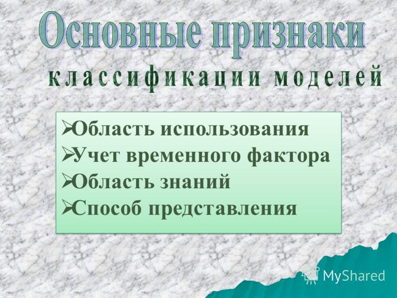 Область использования Учет временного фактора Область знаний Способ представления Область использования Учет временного фактора Область знаний Способ представления