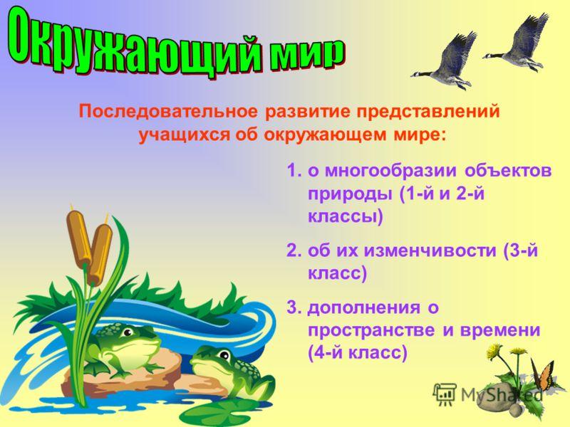 Последовательное развитие представлений учащихся об окружающем мире: 1.о многообразии объектов природы (1-й и 2-й классы) 2.об их изменчивости (3-й класс) 3.дополнения о пространстве и времени (4-й класс)