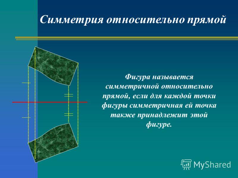 Фигура называется симметричной относительно прямой, если для каждой точки фигуры симметричная ей точка также принадлежит этой фигуре. Симметрия относительно прямой