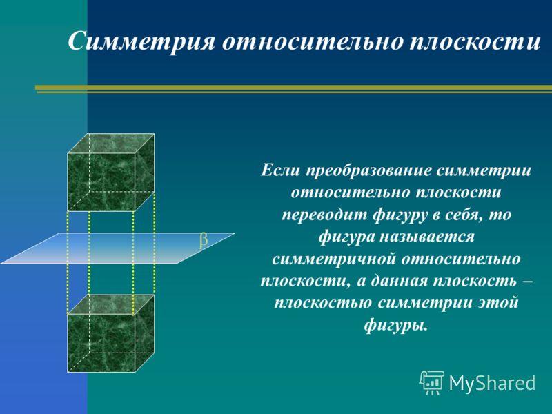 Если преобразование симметрии относительно плоскости переводит фигуру в себя, то фигура называется симметричной относительно плоскости, а данная плоскость – плоскостью симметрии этой фигуры. Симметрия относительно плоскости β