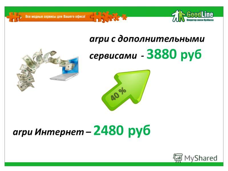 arpu Интернет – 2480 руб arpu с дополнительными сервисами - 3880 руб 40 %