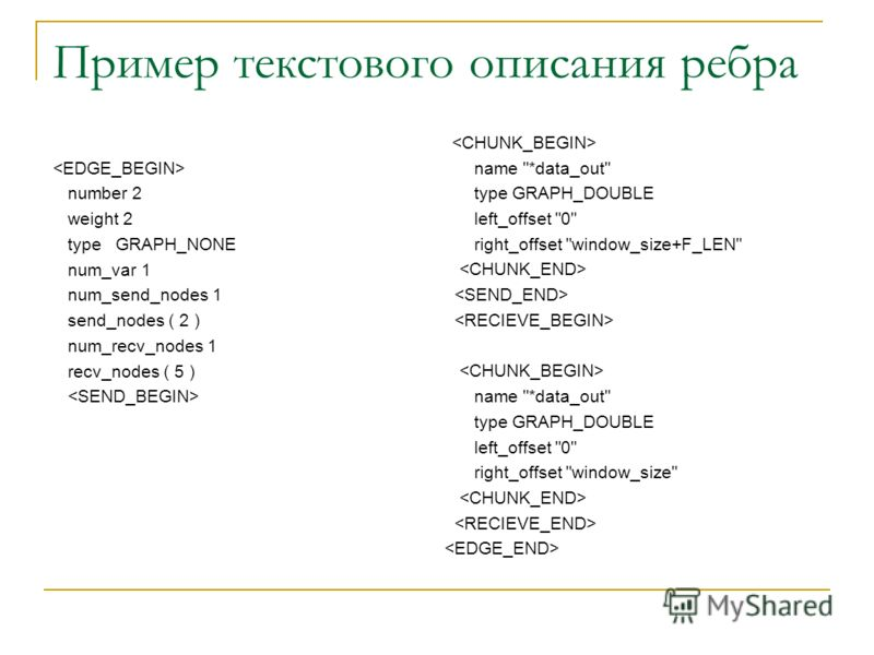 Пример текстового описания ребра number 2 weight 2 type GRAPH_NONE num_var 1 num_send_nodes 1 send_nodes ( 2 ) num_recv_nodes 1 recv_nodes ( 5 ) name