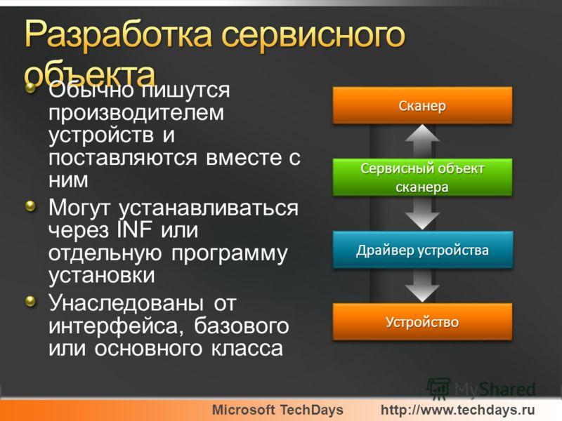 Microsoft TechDayshttp://www.techdays.ru Обычно пишутся производителем устройств и поставляются вместе с ним Могут устанавливаться через INF или отдельную программу установки Унаследованы от интерфейса, базового или основного класса Сервисный объект