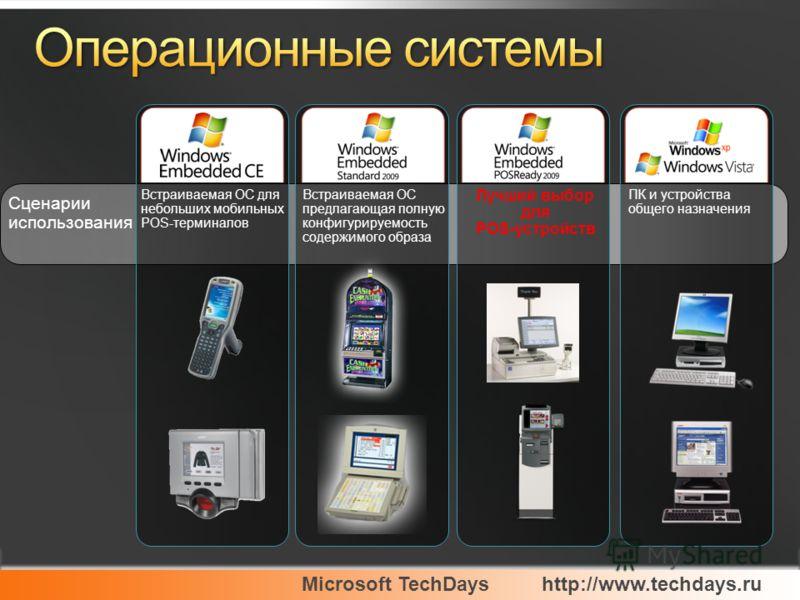 Microsoft TechDayshttp://www.techdays.ru Сценарии использования Лучший выбор для POS-устройств Встраиваемая ОС для небольших мобильных POS-терминалов Встраиваемая ОС предлагающая полную конфигурируемость содержимого образа ПК и устройства общего назн