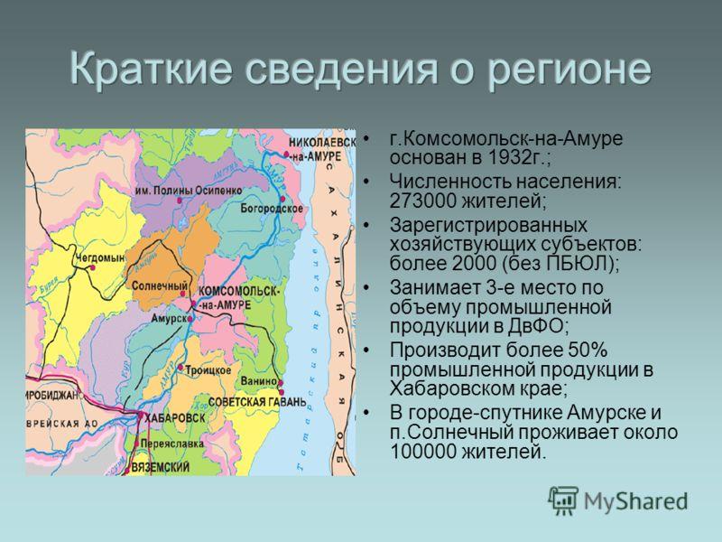 г.Комсомольск-на-Амуре основан в 1932г.; Численность населения: 273000 жителей; Зарегистрированных хозяйствующих субъектов: более 2000 (без ПБЮЛ); Занимает 3-е место по объему промышленной продукции в ДвФО; Производит более 50% промышленной продукции