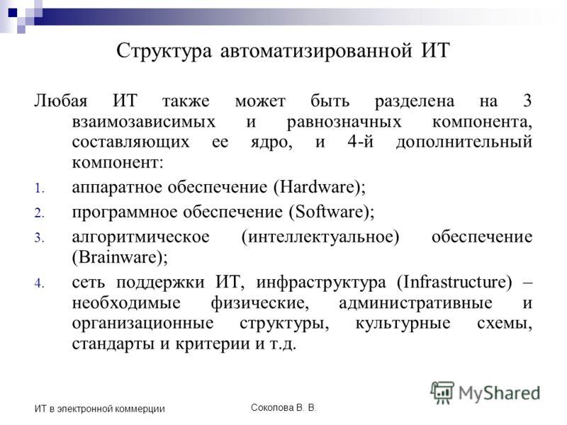 Соколова В. В. ИТ в электронной коммерции Структура автоматизированной ИТ Любая ИТ также может быть разделена на 3 взаимозависимых и равнозначных компонента, составляющих ее ядро, и 4-й дополнительный компонент: 1. аппаратное обеспечение (Hardware);