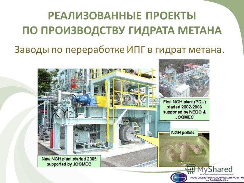 Заводы по переработке ИПГ в гидрат метана.