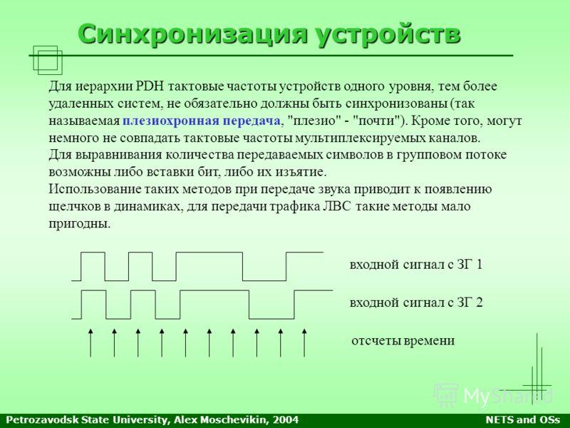 Petrozavodsk State University, Alex Moschevikin, 2004NETS and OSs Синхронизация устройств Для иерархии PDH тактовые частоты устройств одного уровня, тем более удаленных систем, не обязательно должны быть синхронизованы (так называемая плезиохронная п