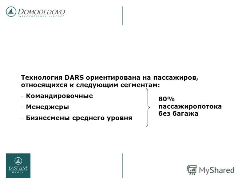 Технология DARS ориентирована на пассажиров, относящихся к следующим сегментам: - Командировочные - Менеджеры - Бизнесмены среднего уровня 80% пассажиропотока без багажа