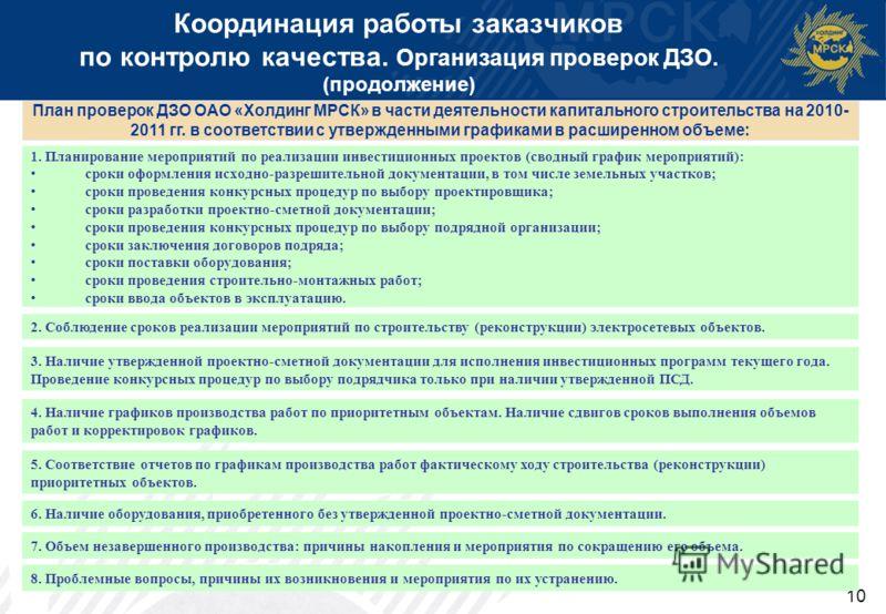 10 Координация работы заказчиков по контролю качества. Организация проверок ДЗО. (продолжение) 1. Планирование мероприятий по реализации инвестиционных проектов (сводный график мероприятий): сроки оформления исходно-разрешительной документации, в том