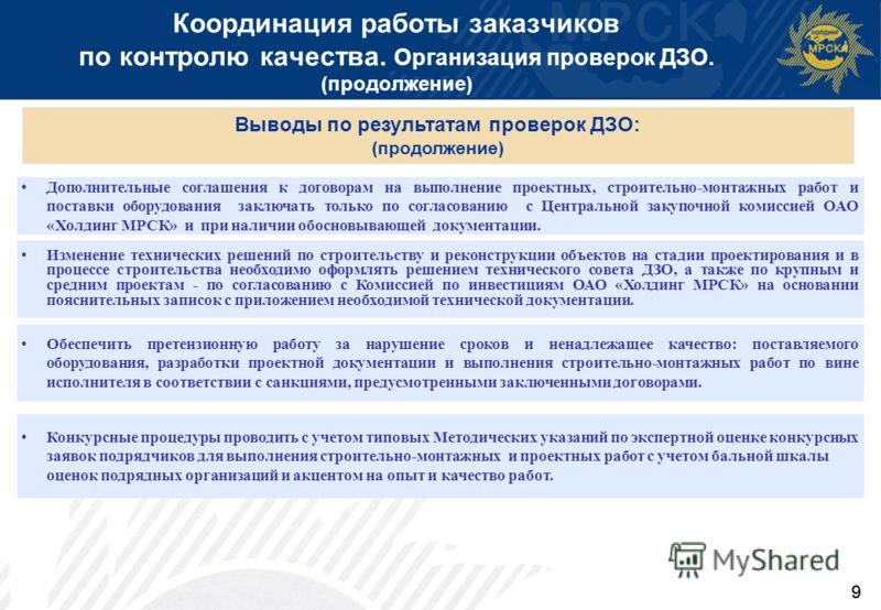 9 Координация работы заказчиков по контролю качества. Организация проверок ДЗО. (продолжение) Дополнительные соглашения к договорам на выполнение проектных, строительно-монтажных работ и поставки оборудования заключать только по согласованию с Центра