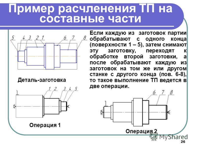 26 Пример расчленения ТП на составные части Если каждую из заготовок партии обрабатывают с одного конца (поверхности 1 – 5), затем снимают эту заготовку, переходят к обработке второй заготовки, а после обрабатывают каждую из заготовок на том же или д