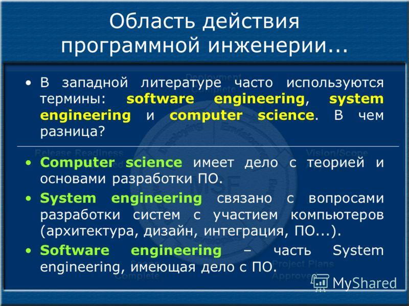 Область действия программной инженерии... В западной литературе часто используются термины: software engineering, system engineering и computer science. В чем разница? Computer science имеет дело с теорией и основами разработки ПО. System engineering