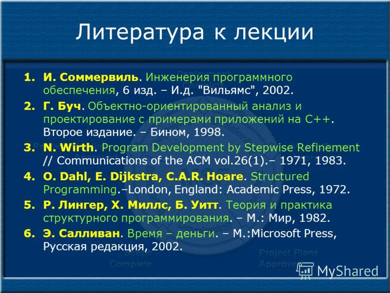 Литература к лекции 1.И. Соммервиль. Инженерия программного обеспечения, 6 изд. – И.д.