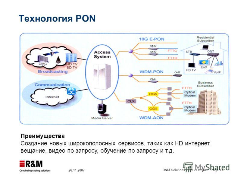R&M Solutions FTTx / Onninen Page 13 26.11.2007 Технология PON Преимущества Cоздание новых широкополосных сервисов, таких как HD интернет, вещание, видео по запросу, обучение по запросу и т.д.
