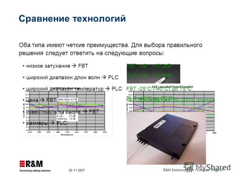 R&M Solutions FTTx / Onninen Page 27 26.11.2007 Сравнение технологий низкое затухание FBTFBT 1x8