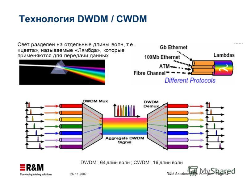 R&M Solutions FTTx / Onninen Page 34 26.11.2007 Технология DWDM / CWDM DWDM : 64 длин волн ; CWDM : 16 длин волн Свет разделен на отдельные длины волн, т.е. «цвета», называемые «Лямбда», которые применяются для передачи данных