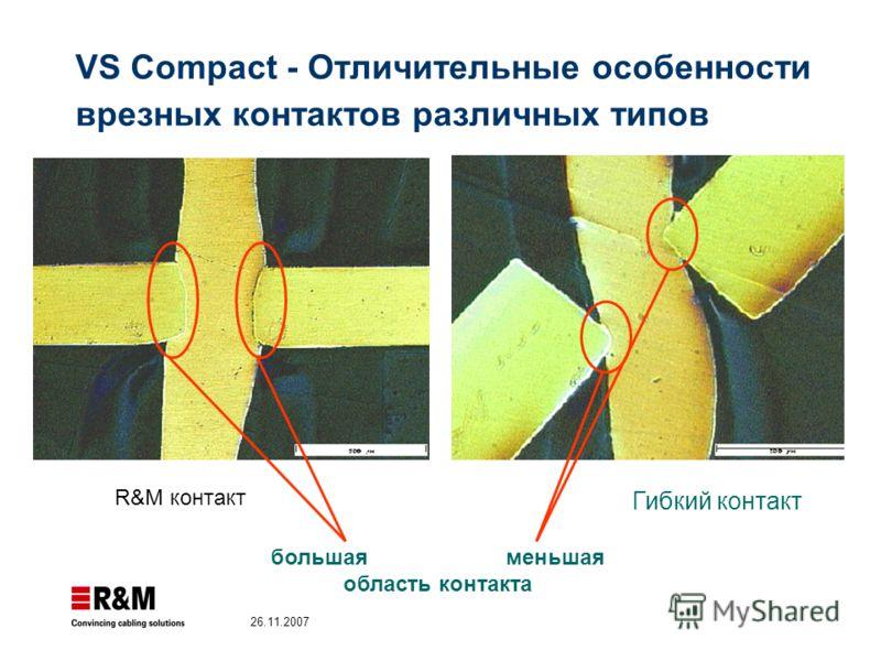 26.11.2007 R&M контакт Гибкий контакт большаяменьшая область контакта VS Compact - Отличительные особенности врезных контактов различных типов