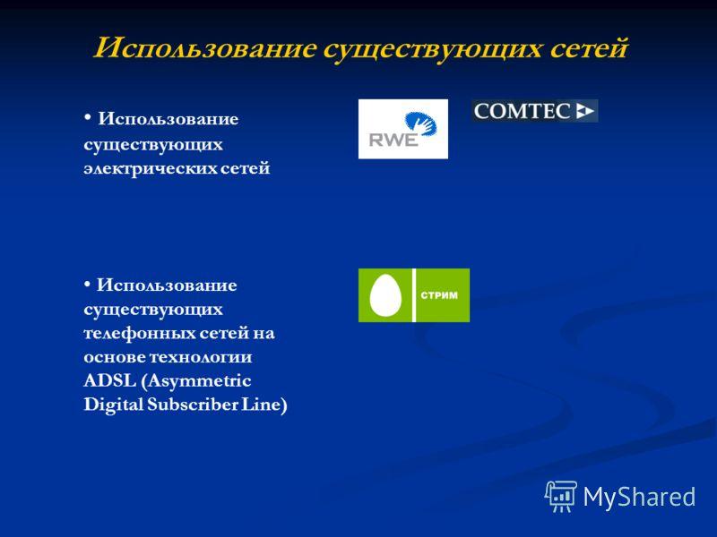 Использование существующих сетей Использование существующих электрических сетей Использование существующих телефонных сетей на основе технологии ADSL (Asymmetric Digital Subscriber Line)