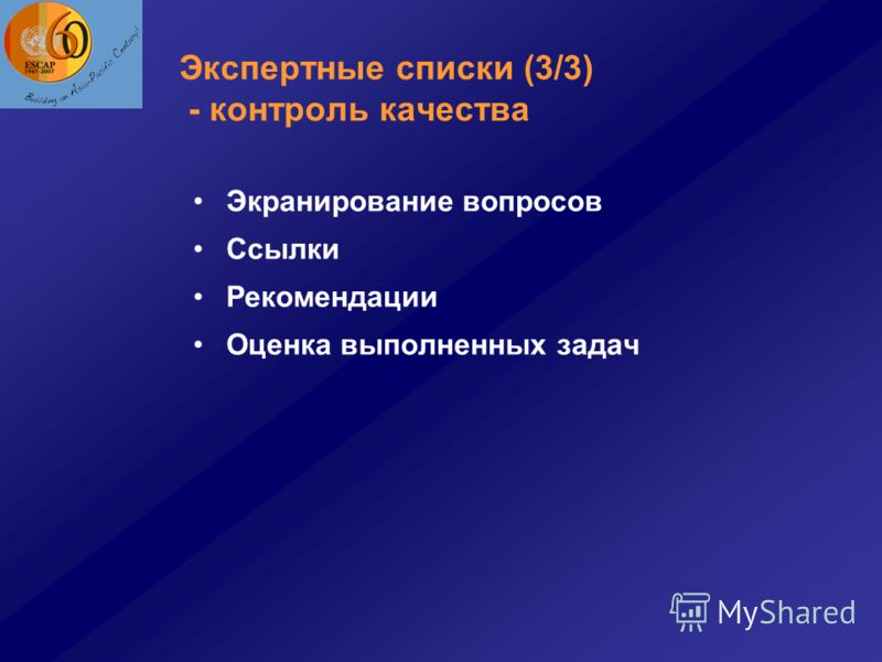 Экспертные списки (3/3) - контроль качества Экранирование вопросов Ссылки Рекомендации Оценка выполненных задач