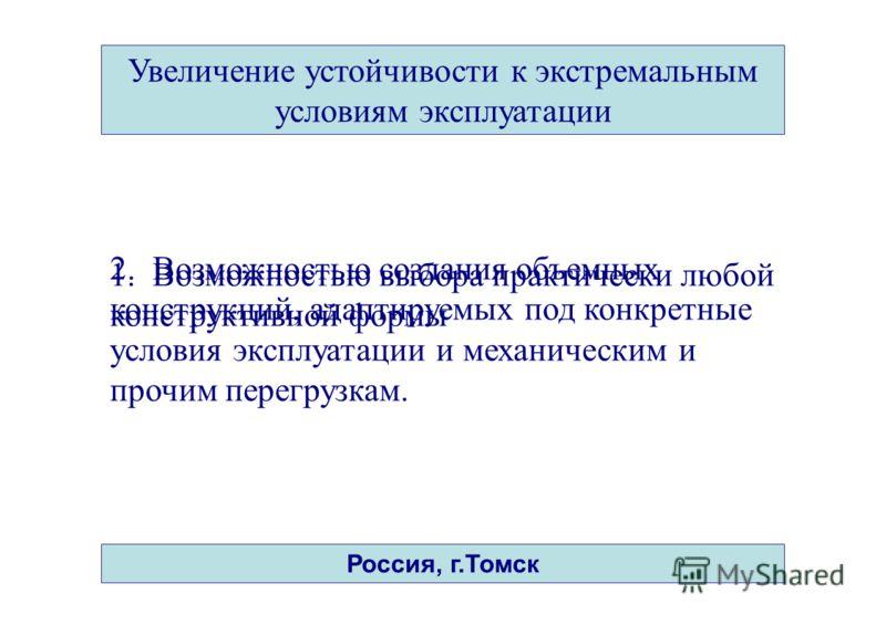 14 Увеличение устойчивости к экстремальным условиям эксплуатации Россия, г.Томск 1. Возможностью выбора практически любой конструктивной формы 2. Возможностью создания объемных конструкций, адаптируемых под конкретные условия эксплуатации и механичес